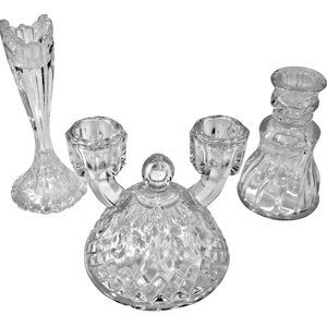 Eclectic Trio Vintage Crystal Candlestick Holders